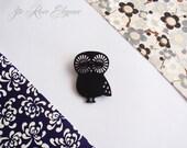 Black owl wooden brooch. Owl brooch. Owl pin. Owl jewelry