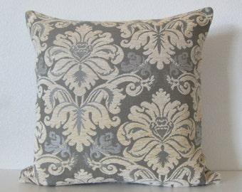 Stroheim Novara - Damask Harbor Grey - traditional chic - designer throw pillow cover