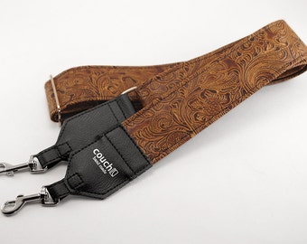 Western Banjo Strap - Made of Light Brown Embossed Vinyl
