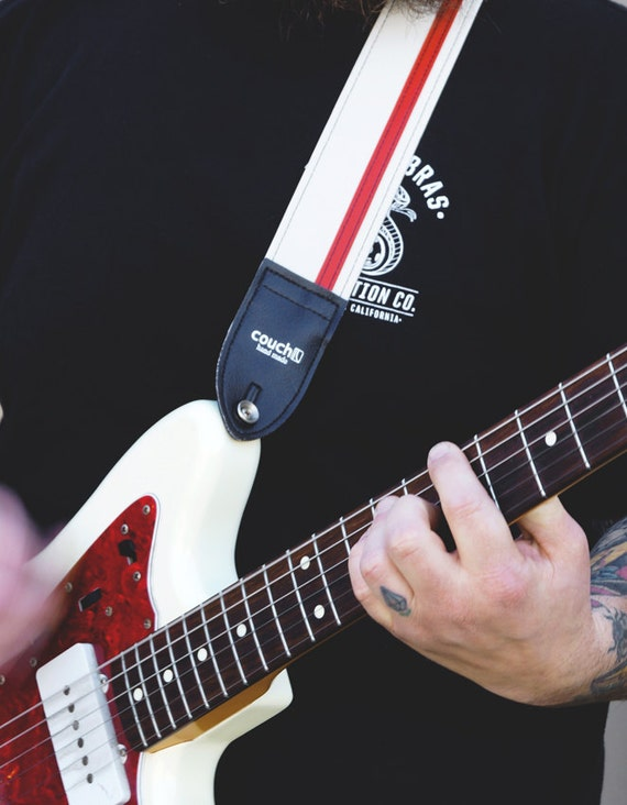 White and Red Racing Stripe Guitar Strap - Vegan - Made in USA check it out
