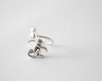 silver penguin monkey ring wrap style, adjustable ring, animal ring, silver ring, statement ring