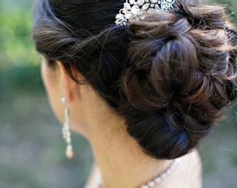 Pearl Bridal Hair Comb, Wedding Hair Comb, Bridal Rhinestone Hair Comb, Silver Hair Comb, Vintage Style,Ivory or White Pearls,Pearl,SAVANNAH
