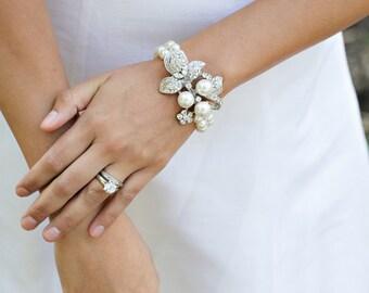 Bridal pearl and crystal Bracelet Statement Bridal Bracelet Bridal Cuff Wedding Rhinestone Bracelet swarovski pearl crystal bracelet SHARON