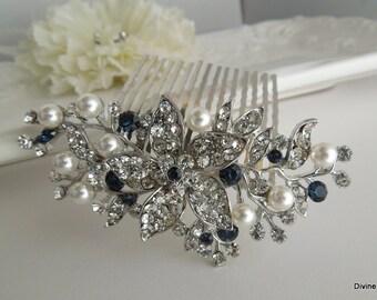 Bridal Rhinestone Hair Comb, Wedding Rhinestone Hair Comb, flower and leaf Rhinestone Hair Comb, Swarovski Crystals, Something Blue, KATY