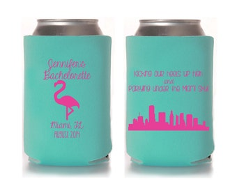 Personalized Miami Bachelorette Can Coolers, Bachelorette Favors. Custom Beverage Insulators, Beer Huggers, Florida Bachelorette