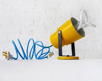 Vintage Yellow Theater Spotlight Lamp - Sconce Light or Table Lamp - Swivel and Pivot - Bright Blue Fabric Color Cord - Plumen Bulb - OOAK