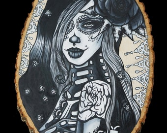 Ghost Flower  - Archival Print 12x16  Dead Girl Day of the Dead Tattoo Gothic Art  Skeleton Beautiful Girl