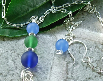 On SALE!!    Blue & Green Glass Pendant on Sterling Silver Chain Necklace with Matching Earrings