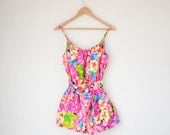 Vintage 1970s swimsuit / pink yellow tropical floral / 70s romper Catalina playsuit S / M