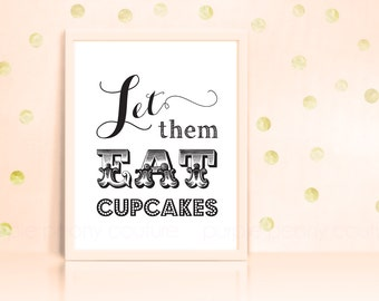 Let Them Eat Cupcakes Sign Poster Wedding Printable Pdf INSTANT DOWNLOAD