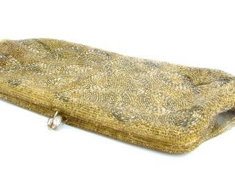 Gold Beaded Clutch - Delicately Hand Beaded Vintage 1950s Japanese Evening Bag - Gold Satin Lining, Great Vintage Condition