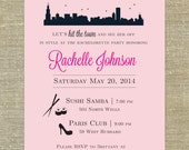 Bachelorette Party invitations with Chicago Skyline; SET OF 15; matching envelopes and return address printing