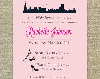 RESERVED Bachelorette Party invitations with Chicago Skyline; SET OF 12; matching envelopes and return address printing