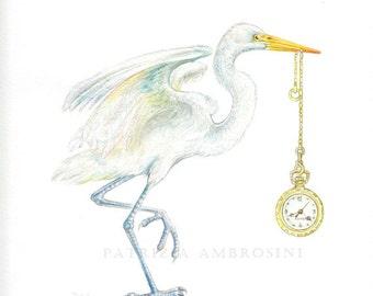 Original 8,6x11,2 Watercolour HERON  with pocket watch.. NOT A PRINT ..Original Painting bird, watch, clock, time,