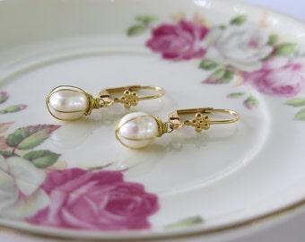Pearl Earrings  , Bridal Gold plated Pearl Earrings