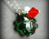 Shamrock Necklace, Green Swarovski Crystal Four Leaf Clover, Irish Flag Colors, Orange, White, Green, Shamrock Jewelry