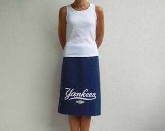 Women's Skirt New York Yankees T Shirt Skirt White Blue Red Women Casual Drawstring Knee Length Skirt Cotton Skirt Fall Autumn ohzie
