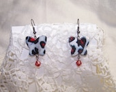 Animal Print Dangle Earrings Glass Butterfly Black, Red and White Leopard Print Gunmetal Jewelry Steampunk Goth Sexy