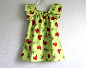 Little Girls Flutter Sleeve Dress - Red Cardinals on Chartreuse - Toddler Girls Dress with Sleeves - Size 12m, 18m, 2T, 3T, 4T, 5, 6 or 8