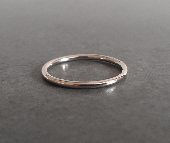 Simple White Gold Thin Wedding Ring 14k White Gold
