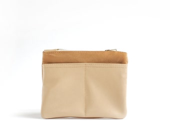 Leather coin purse in Mustard yellow and beige