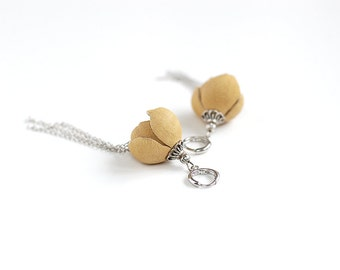 SALE 10% OFF Leather earring in pale yellow flower with chain charm