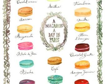 French macaron flavor chart print, Watercolor art, 8X10 art print, Macaroon print, Cake print, Pastel home decor, Paris wall art Kitchen art