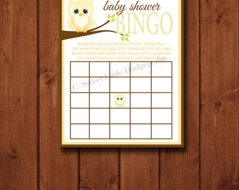 Yellow Owl Baby Shower Bingo Printable - INSTANT DOWNLOAD - 8 x 10  Digital File - Baby Shower Game