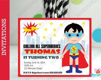 6 Superhero Invitations, Handmade Superhero Party Inspired Invitations  A1066