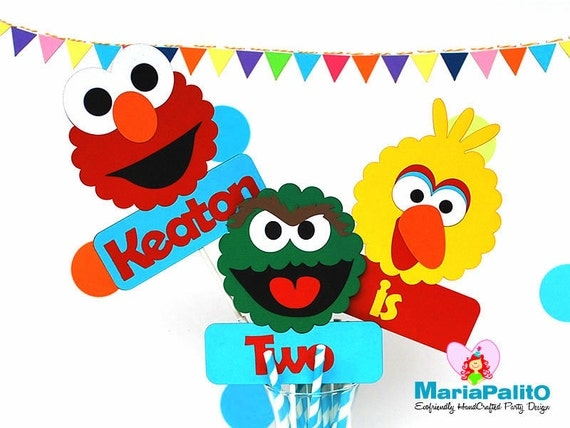 Sesame Street Centerpiece, 3 Piece Centerpiece Elmo, Oscar and Big Bird inspired Centerpiece, Age Birthday centerpiece A950
