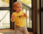 Bee Long Sleeve Baby's Yellow Cotton Tshirt