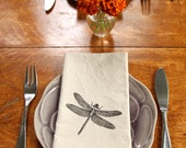 Cotton Napkins - Dragonfly hand screen printed set of 2 dinner napkins - ecofriendly - reusable napkins for your table setting