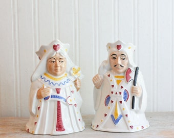 Vintage Toby Jugs, King and Queen Mugs,  Queen of Hearts, King of Hearts, HJ Wood, England, Vintage  Barware, Beer Pitcher, Royal Family