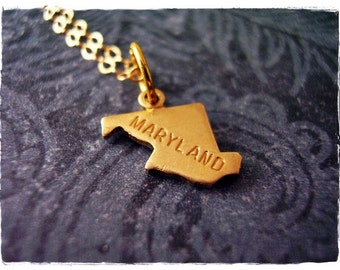 Tiny Gold Maryland State Necklace - Raw Brass Maryland Charm on a Delicate 14kt Gold Filled Cable Chain or Charm Only