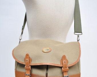 vintage messenger bag canvas and leather hunting laptop satchel
