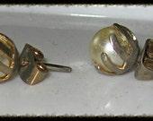 Vintage Old Pearl Stud Earrings in Unusual Setting