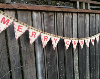 Merry Christmas Bunting burlap and fabric holiday banner