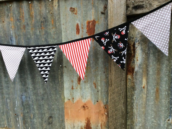 Pirate Flags Bunting Pennants Pirates Party theme Banner red grey black