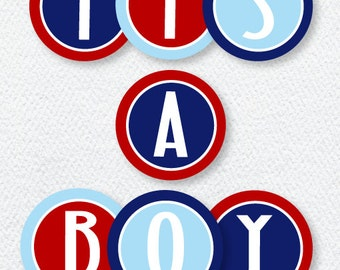 Nautical Baby Shower PRINTABLE It's A Boy Banner (INSTANT DOWNLOAD) from Love The Day