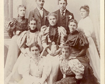 Large Family - Mostly Women in BEAUTIFUL VICTORIAN DRESSES Cabinet Card Photo Los Angeles California Circa 1890s