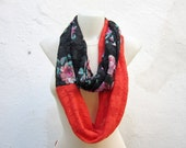 Lace Infinity Scarf,Loop scarf,Stretch Lace,Circle Scarf,Red Lace,Women scarf