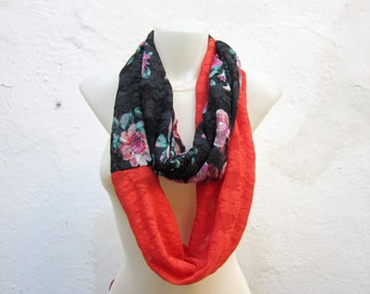Lace Infinity Scarf, Loop scarf, Stretch Lace, Circle Scarf, Red Lace