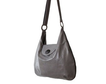 Grey leather purse, grey purse, shoulder bag - Free Shipping - Caresse