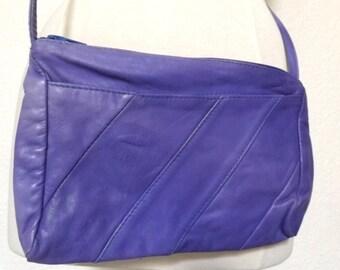 BLACK FRIDAY SALE Vintage Lavender Purple Colored Leather Crossbody Purse - Asymmetrical Geometric Patchwork Panels