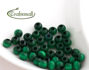 Wooden Beads - Emerald Green 8mm - 20 Beads