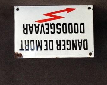High risks... Vintage French Danger of Death enamel plate. Industrial decor.