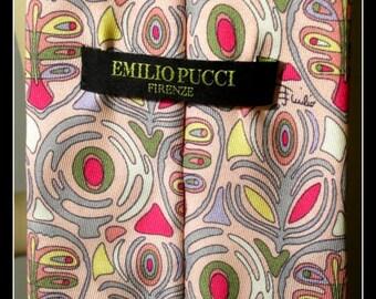 genuine pucci tie / italian designer / silk tie / made in italy / vintage mens