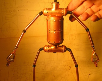 Robot Sculpture, Vintage Vacuum Tube Head, Bendable and Posable, Numbered & Initialed