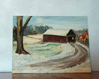 FREE SHIPPING Winter Oil Painting, Covered Bridge, snow, cabin lodge