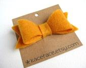 Mustard Yellow Felt Bow Hair Clip